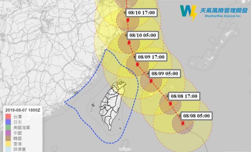 天氣風險管理公司總經理彭啟明表示,利奇馬暴風半徑擴大,暴風圈大約在今天深夜到明天凌晨碰觸陸地,中心距離最接近台灣的時候,就是在明天上午6時到中午12時,北部民眾會很有感。(圖擷取自彭啟明臉書)
