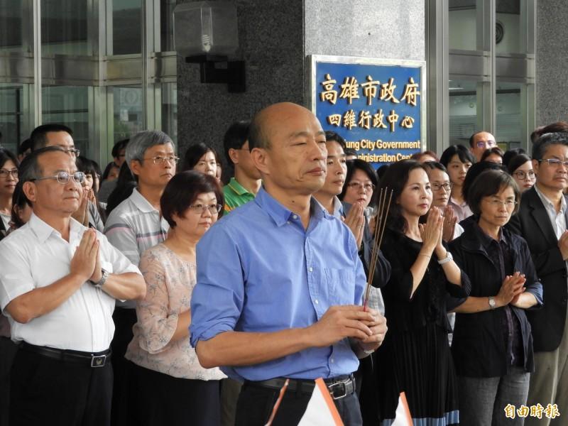 高市府7日舉辦中元普渡,市長韓國瑜再度唸起《般若波羅蜜多心經》。(資料照)