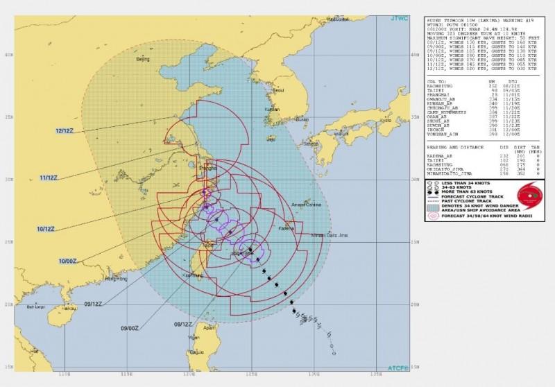 美軍預測,台灣將在10日中午12點起逐漸脫離颱風影響。(圖擷取自JTWC)