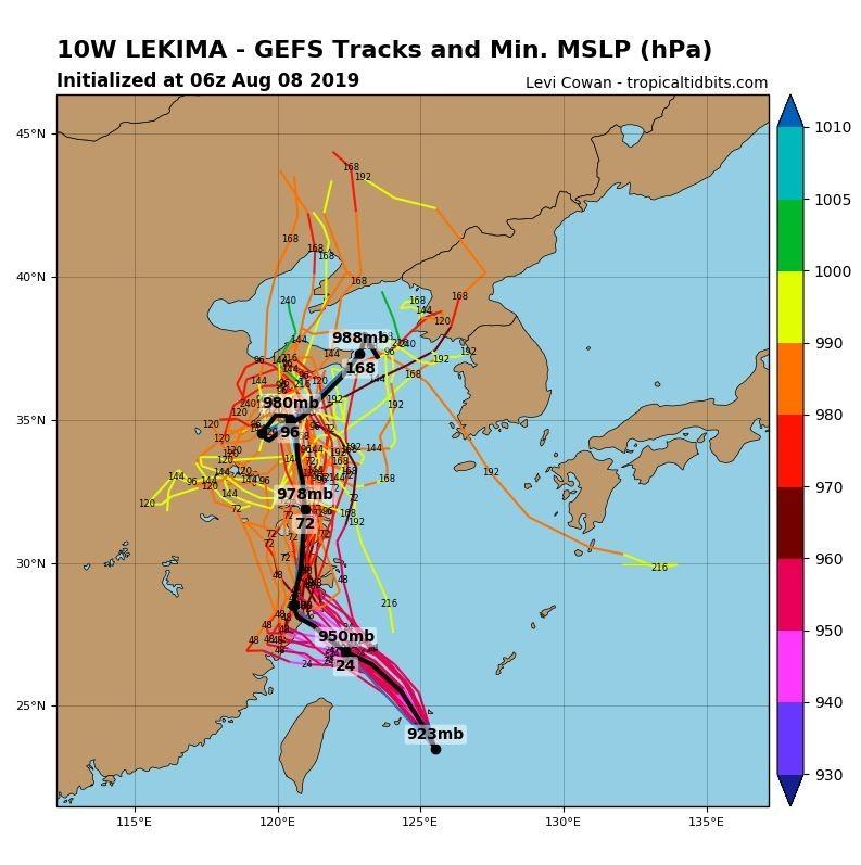 全球預報系統(GFS)模擬路徑圖可見,颱風將登陸中國。(圖擷取自tropicaltidbits)