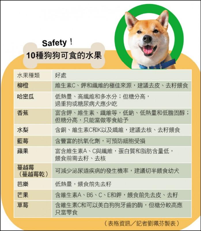 10種狗狗可食的水果。(表格資訊/記者劉珮芬製表)