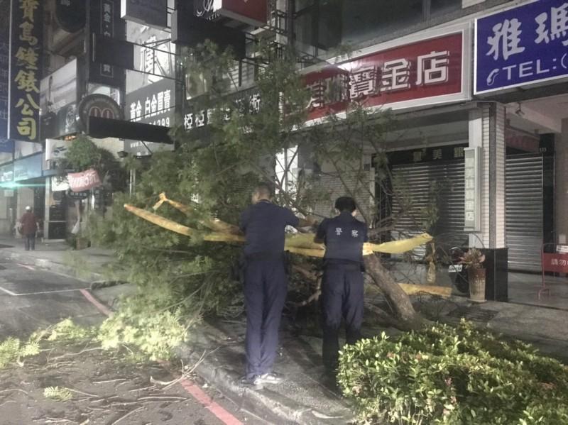 員警與民眾將倒塌樹木移至路邊。(記者洪定宏翻攝)