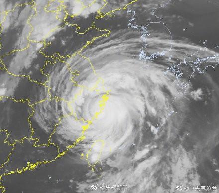 利奇馬颱風在今天凌晨1時45分登陸中國浙江。(圖擷取自央視)