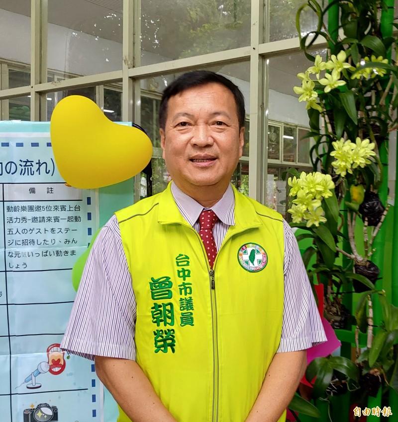台中市議員曾朝榮被勸進參選立委,但他個人意願較希望留在地方。(記者張菁雅攝)