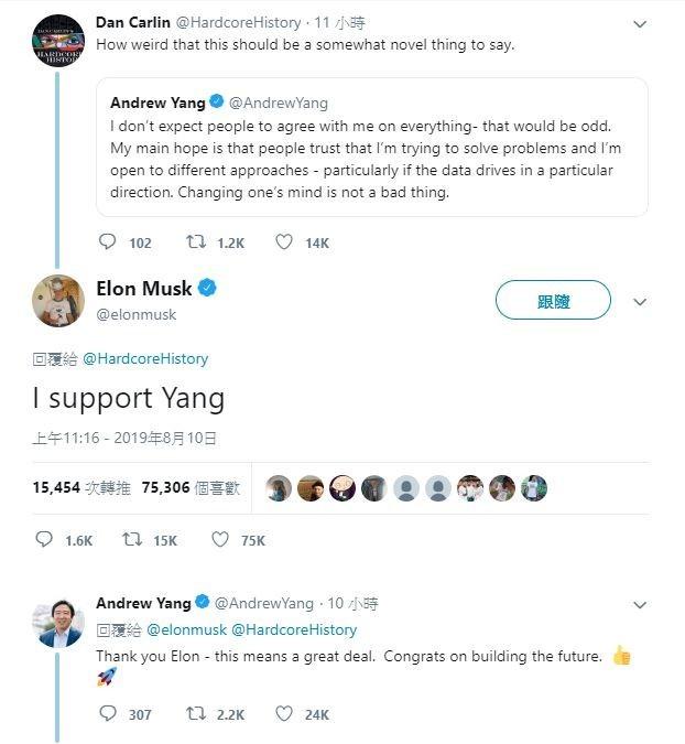 馬斯克公開表態支持台裔美籍總統參選人楊安澤。(圖擷取自推特)