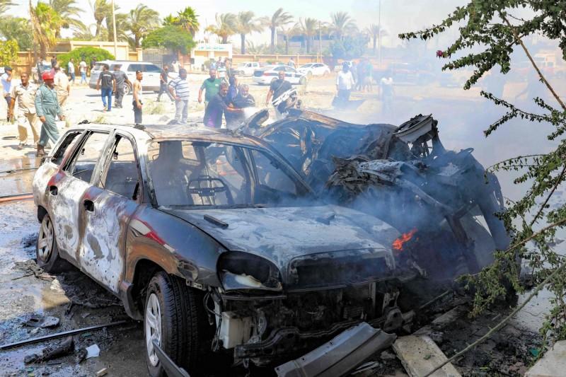 利比亞10日傳出汽車爆炸事件,已知3名死者為聯合國工作人員。(法新社)