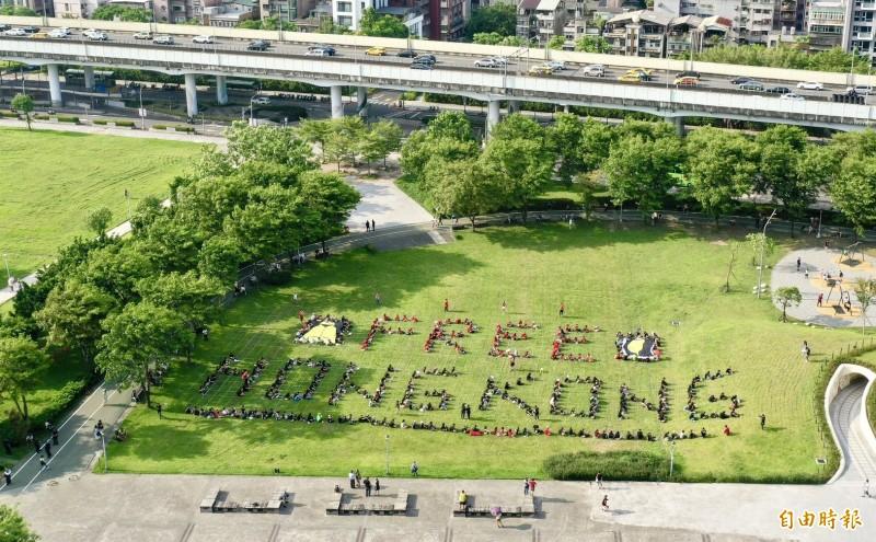 多個NGO團體11日於民進黨前中央藝文公園舉行「挺人權 撐香港 護民主」排字活動,參與民眾排出「FREE HONG KONG 」字體,表達台灣社會對香港人民爭取自由民主的支持。(記者羅沛德攝)