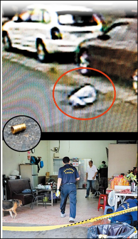 王姓男子中彈倒臥屋外50公尺處送醫不治,現場留下彈殼,警方在案發民宅內蒐證。 (記者萬于甄攝及翻攝)