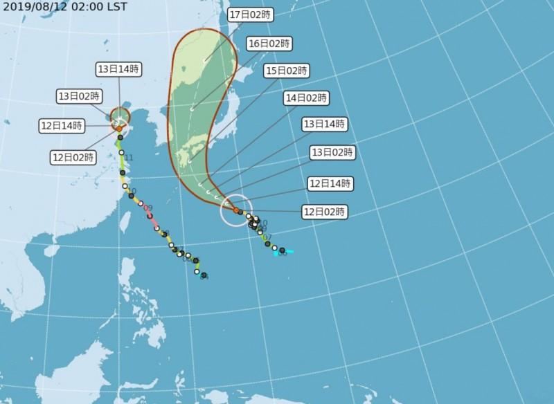 吳德榮指出,模擬顯示未來一週颱風「柯羅莎」在「季風低壓」環流內變化,並未改變西南風持續影響台灣的型態,其風速雖不及「梅雨季」之西南氣流,但「季風低壓」的大氣,其「對流不穩定度」猶勝「梅雨季」。(圖擷取自中央氣象局)