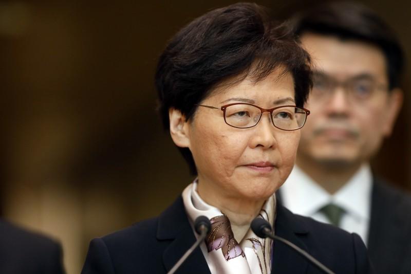 香港反送中持續延燒,特首林鄭月娥今天上午出面回應。(彭博)