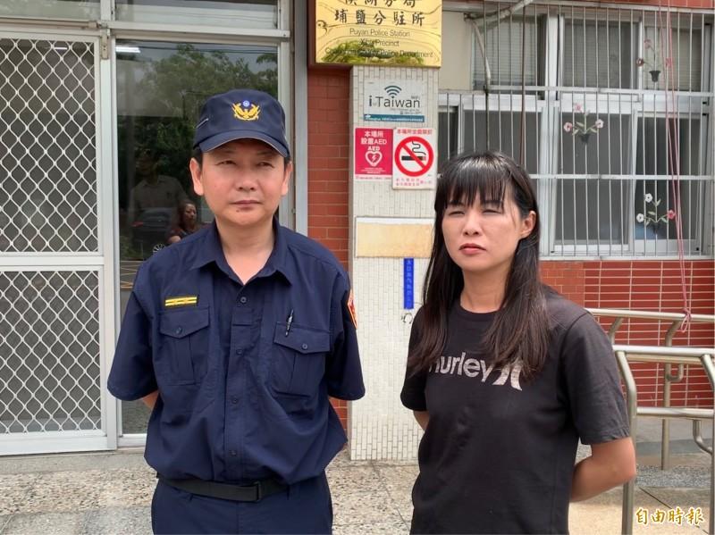 埔鹽鄉長許文萍(右)表示,幸賴警民合作,才攔阻一場詐騙。(記者陳冠備攝)