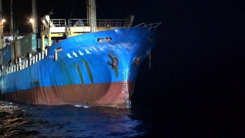 和中國軍艦發生擦撞的友泰壹號。(第九海巡隊提供)