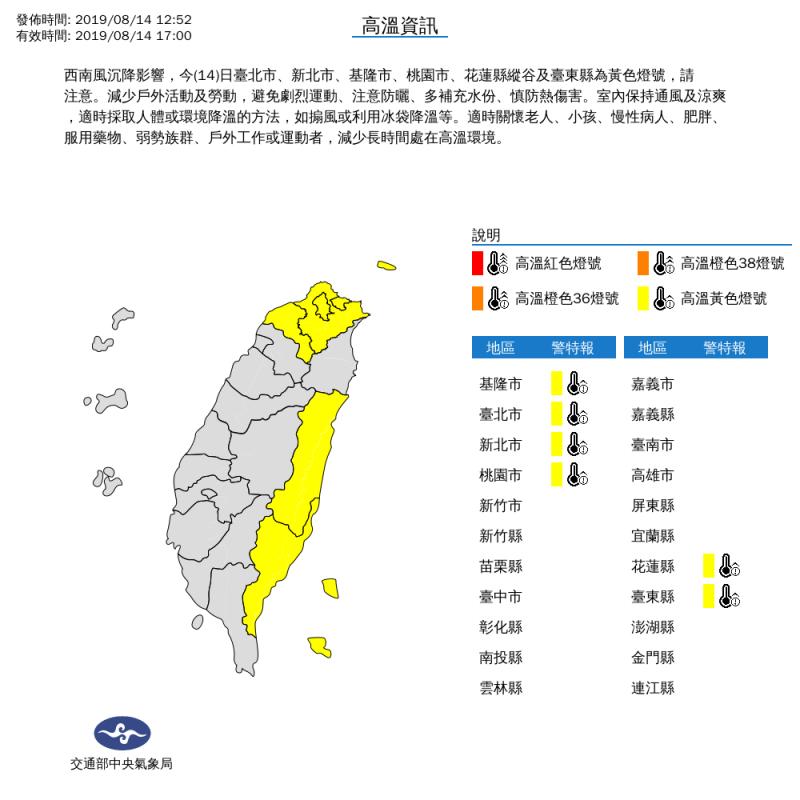 氣象局發布高溫資訊示警,對台北市、新北市、基隆市、桃園市、花蓮縣縱谷及台東縣等6縣市發布黃色燈號。(取自氣象局網站)