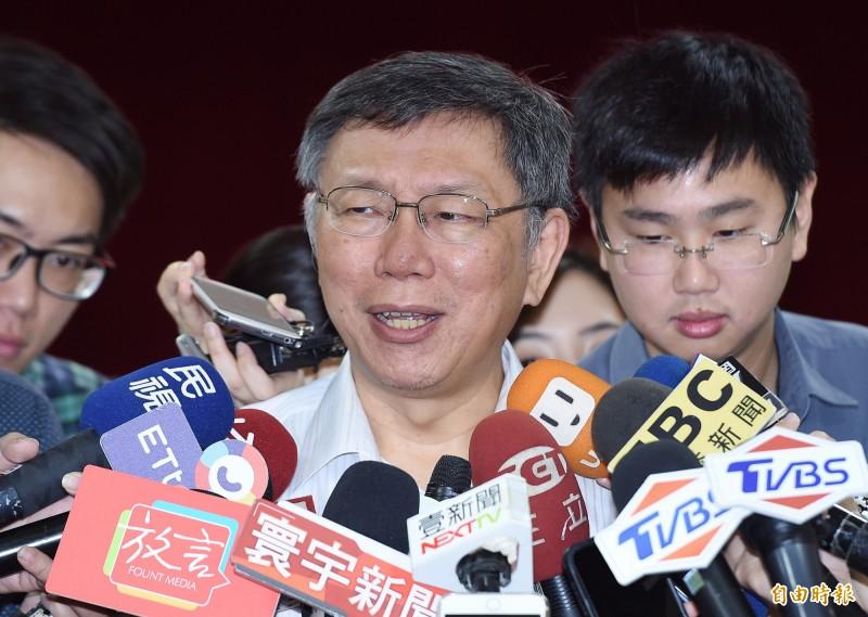台北市長柯文哲今也向北京政府喊話,「不要搞成下一個六四」。(記者廖振輝攝)