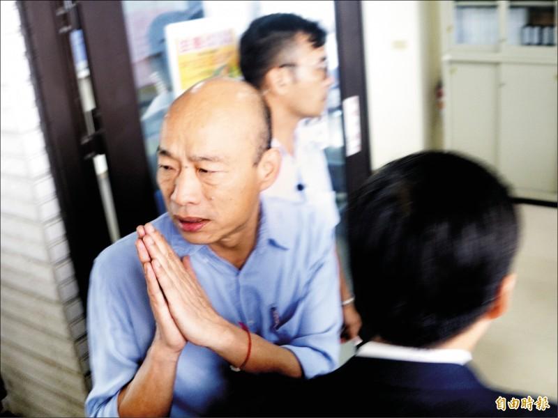 身陷麻將風暴的高雄市長韓國瑜,昨質疑自己選上市長後是不是一直被監視?是不是有人用國家機器在監視他?(記者黃佳琳攝)