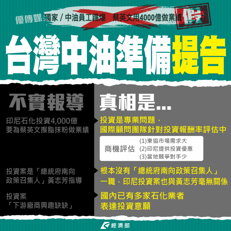 經濟部發文直指相關報導充斥錯假訊息,並表示台灣中油公司已準備提告。(擷取自「經濟部」臉書)