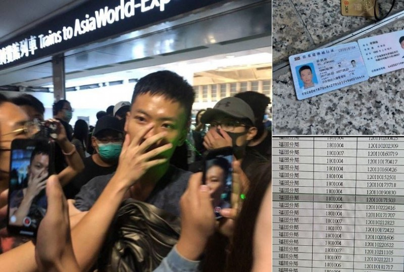 示威人士指控,這名身穿黑衣出現在抗議現場的男子疑為中國公安。(擷取自推特)