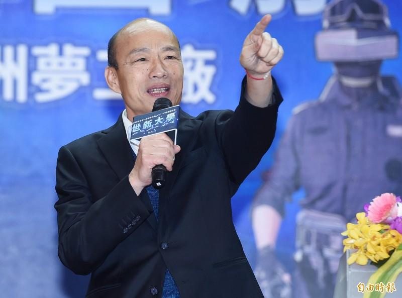 高雄市長韓國瑜(見圖)近日風波頻傳,16日決定向資深媒體人黃光芹、前民進黨立委賴坤成,以「發表毫無事實憑據的言論」提告。(資料照)