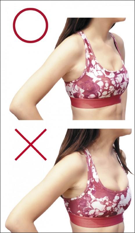 運動內衣壓胸時會造成壓迫感,當下可能不會不舒適,但運動一段時間後可能會造成呼吸不順暢。(記者陳宇睿/攝影)