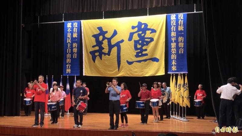 新黨今晚舉行黨慶大會,將公布「一國兩制台灣方案」。(記者陳昀攝)