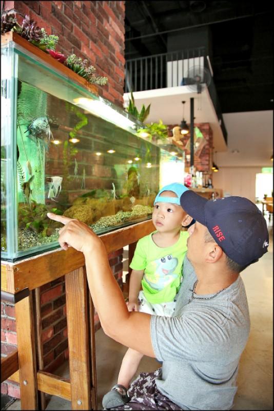 店內設置大型生態缸,裡面有各種水草、植物、魚類,呼應海藻餐廳主題。(記者沈昱嘉/攝影)