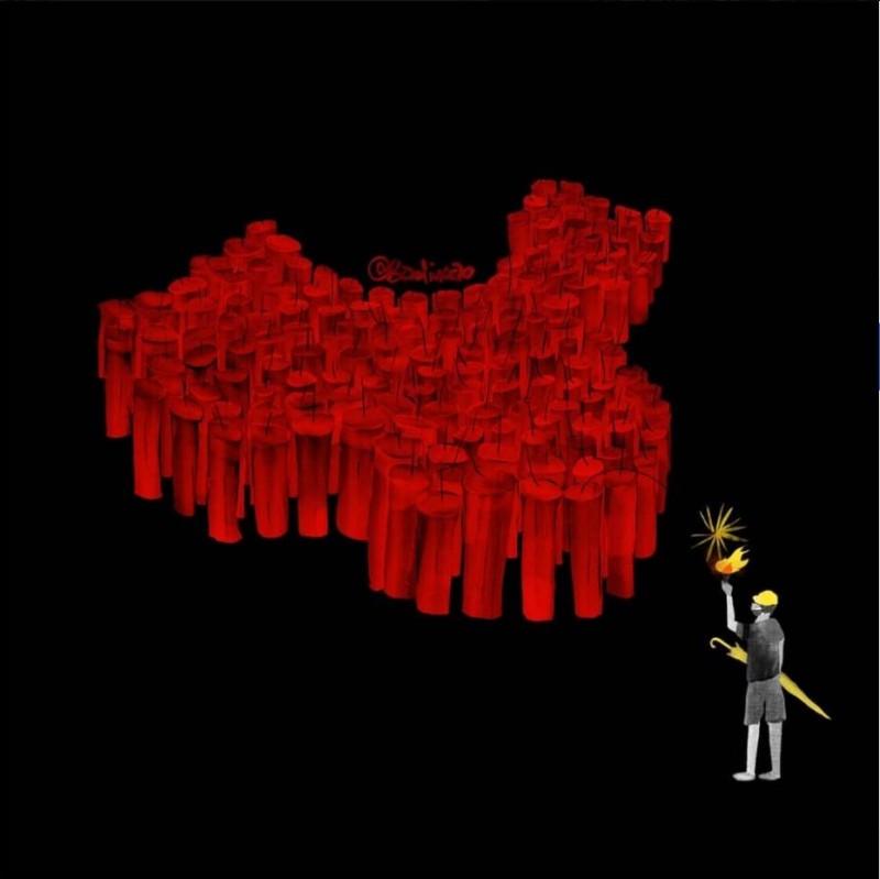 中國藝術家巴丟草新作〈北京的夢魘〉(Beijing's nightmare),將香港比喻為燃起中國民主改革的星火。(圖擷取自何韻詩臉書HOCC)