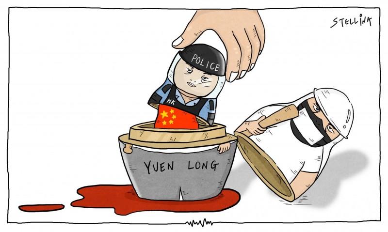 台灣插畫家陳筱涵(Stellina Chen)針對香港反送中事件所繪的政治諷刺漫畫日前(13日)登上法國《世界報》。法國《世界報》在法語國家地區極具影響力與國際知名度。(圖擷取自臉書_Stellina Chen)