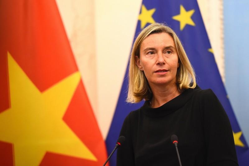 歐盟歐盟外交和安全政策高級代表茉格里尼(圖)與加拿大外交部長方慧蘭(Chrystia Freeland)共同署名發布聯合聲明,支持香港爭自由。(法新社)