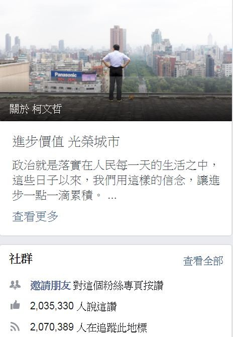 台北市長柯文哲臉書粉絲人數持續下滑,短短18天就少了9萬餘人。(擷取自柯文哲臉書)