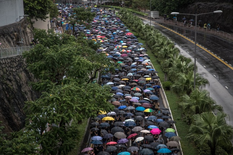 香港反送中抗爭第11週,817示威遊行。(歐新社)