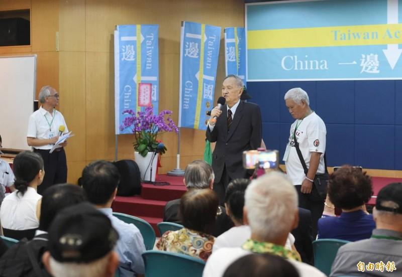 前總統府資政彭明敏出席一邊一國行動黨成立大會。(記者方賓照攝)
