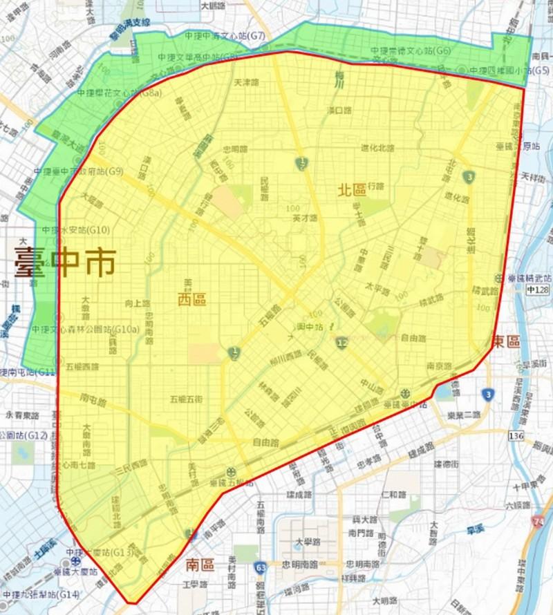 台中市停水影響區域示意圖。(自來水公司提供)