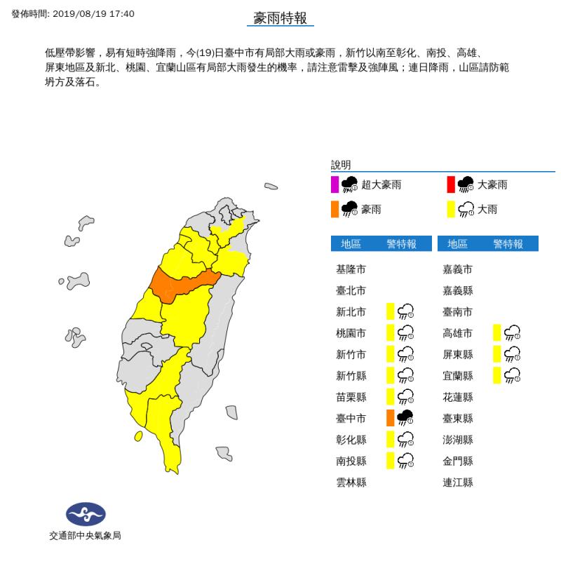 氣象局今(19日)下午5點40分,針對11縣市發布豪雨、大雨特報,提醒民眾外出要記得攜帶雨具。(圖擷取自中央氣象局)