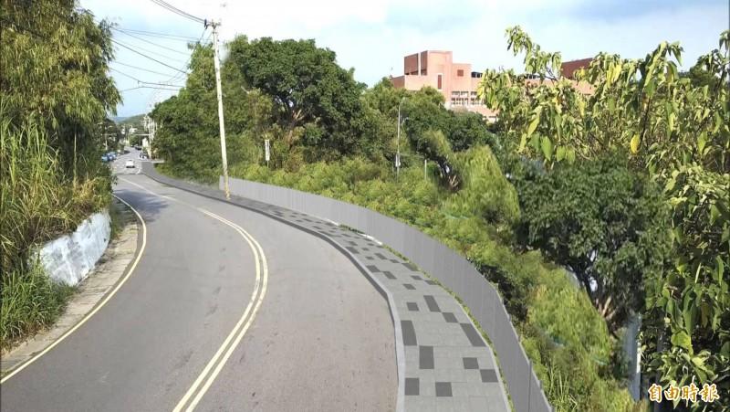 新竹市政府交通處在內湖國中闢設通學步道,長300公尺,讓學生上下學更安全。圖為完工示意圖。(記者洪美秀攝)
