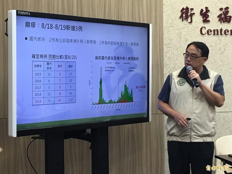 衛福部疾管署疫情中心副主任郭宏偉說明麻疹疫情。(記者林惠琴攝)