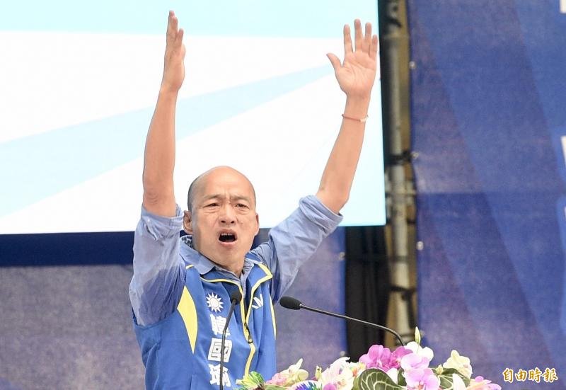 韓國瑜的溼腋下形象似乎成功「深入民心」。(資料照)