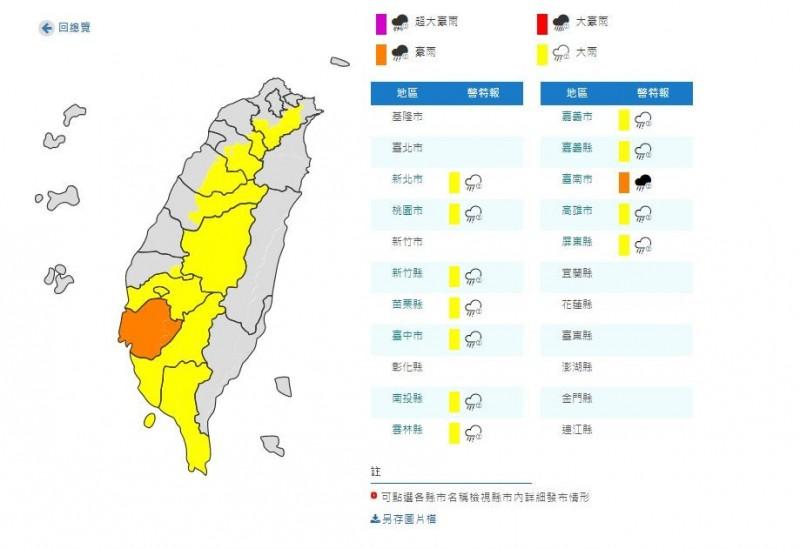 雨彈來了!台南注意豪大雨 全台11縣市發布大雨特報