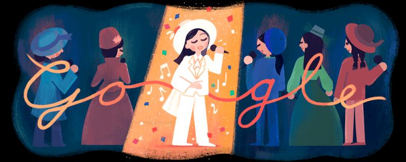 今天是「帽子歌后」鳳飛飛66歲冥誕,Google特別在台灣、香港、新加坡、馬來西亞、日本、古巴、冰島、義大利、瑞典等地Google首頁,放上以鳳飛飛為主角的Doodle。(圖擷取自Google)