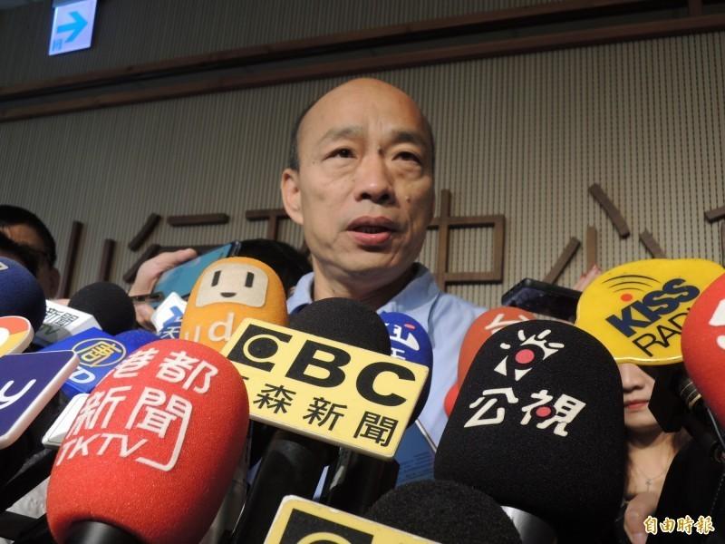 高雄市長韓國瑜兩度指控遭國家機器監控,今天加碼爆料車子被裝追蹤器,卻又傾向不提告。(記者王榮祥攝)