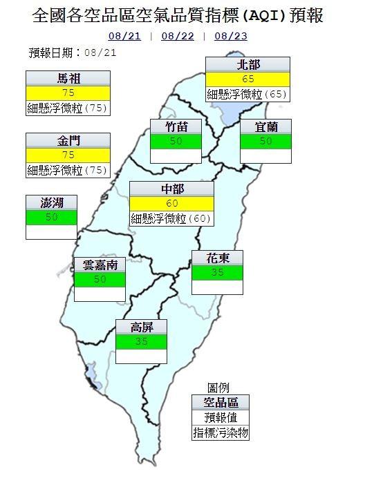 空氣品質方面,明竹苗、雲嘉南、高屏、宜蘭、花東空品區及澎湖為「良好」等級,而北部、中部空品區及馬祖、金門則為「普通」等級。(圖取自行政院環保署空氣品質監測網)