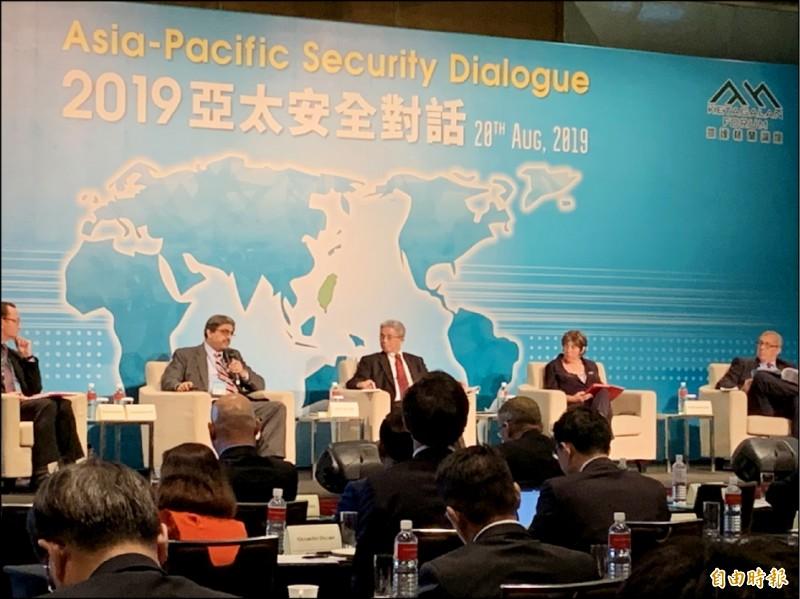 印度前駐中國大使班浩然表示,印度與台灣擁有民主、法治、維護個人自由等共享價值觀,他更強烈支持印度與台灣儘快推動簽署自貿協定。(記者呂伊萱攝)