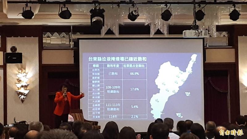台東縣中小學校長會議今天舉行,縣長饒慶鈴(紅衣者)在會中講啟用焚化廠的必要性。(記者黃明堂攝)