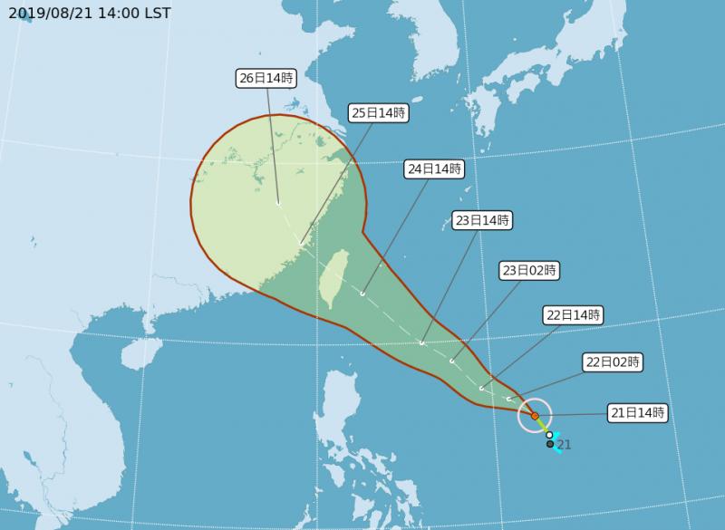 氣象局預估白鹿未來將以穩定西北西至西北移動直撲台灣,颱風中心有機會在週六登陸花蓮一帶。(擷自中央氣象局)