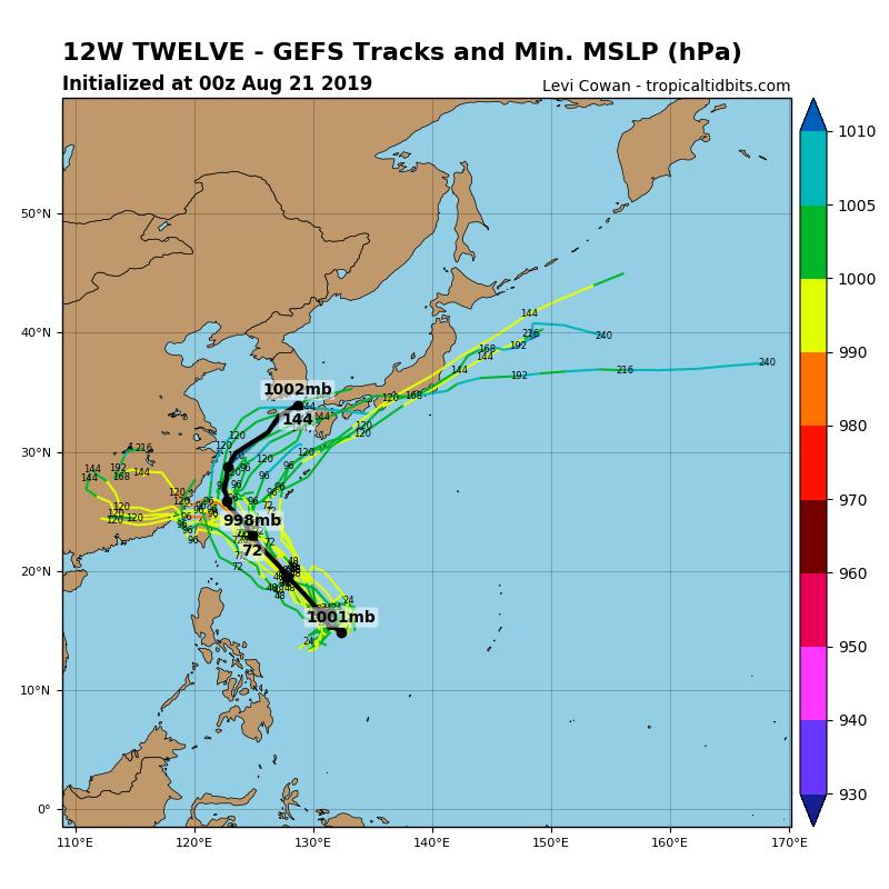 柯丸的氣象數據資料網站指出,最新全球預報系統模擬路徑圖顯示,颱風可能成為穿心颱影響台灣,但也有機會轉向日本。(圖擷取自tropicaltidbits)