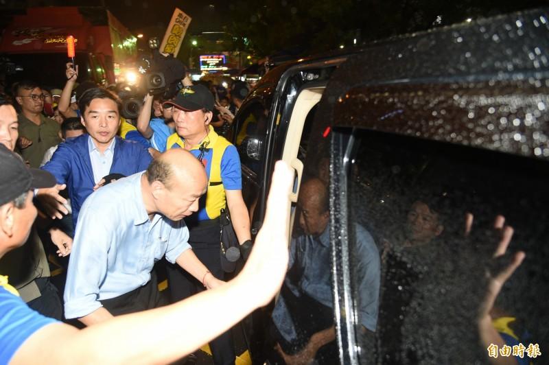 帶職參選總統的高雄市長韓國瑜,昨爆料自己的車子可能被裝追蹤器。(資料照)