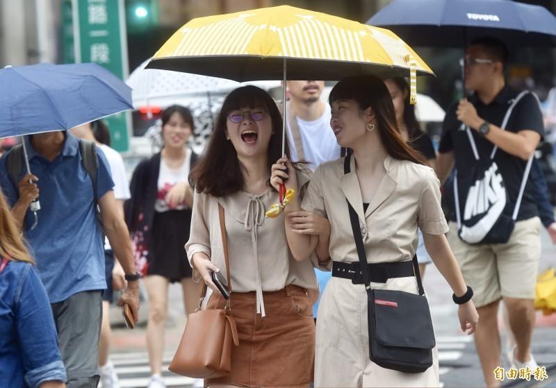 今(21)日仍在低壓帶環境內,天氣較不穩定,中南部高溫約30、31度,北部及東半部32、33度,沒下雨時感受較悶熱。(資料照)