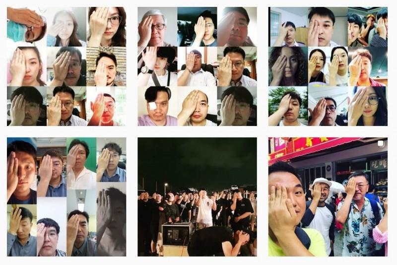 韓國電影《屍速列車》資深演員金義聖近日上傳了多張手遮右眼的照片,聲援日前右眼遭香港警察射瞎的救護員。(圖擷取自IG_lunatheboy)