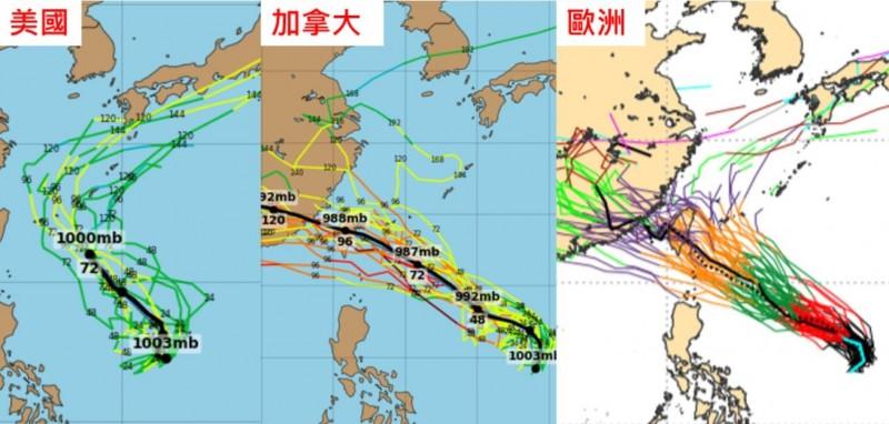 吳德榮在洩天機教室分享,各國針對白鹿颱風未來路徑的最新模擬路徑,並指路徑大多偏北(左圖);不過加拿大系集模式(GEPS)及歐洲系集模式(ECMWF)也有許多模擬路徑是通過台灣附近(中、右圖)。(圖擷自洩天機教室)