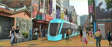 淡海輕軌老街段將將採取人車混流的C路權,此為示意圖 。(新北捷運局提供)