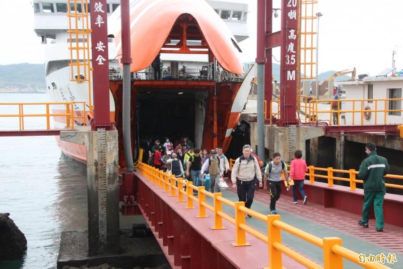 因應白鹿颱風的腳步逼近,台馬輪將於23日早上返台躲颱風,預估台馬輪避颱滯留台灣2到3天。(記者俞肇福攝)